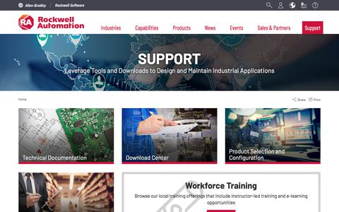 Screenshot of Support Page rockwellautomation.com - Support | Rockwell Automation - captured Sept. 28, 2019