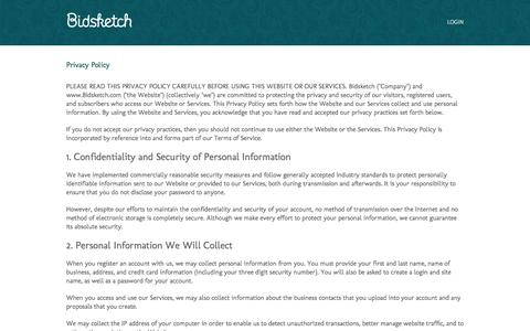 Screenshot of Privacy Page bidsketch.com - Privacy - captured Sept. 18, 2014