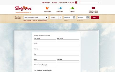 Screenshot of Signup Page dollywood.com - Dollywood | Sign Up for Email - captured Sept. 19, 2014