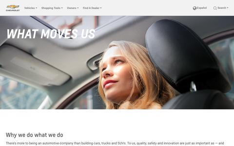 Screenshot of About Page chevrolet.com - Why Choose Chevy? Safety, Awards, Innovation - captured Oct. 8, 2018