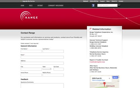Screenshot of Contact Page rangeweb.net - Range - You're Connected - captured Oct. 7, 2014