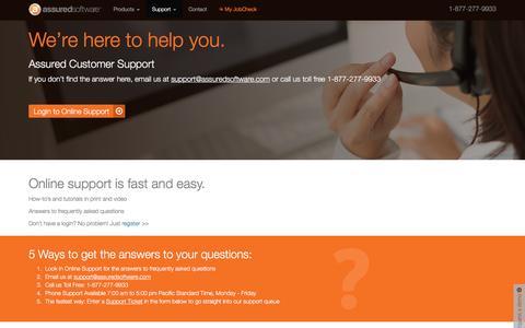 Screenshot of Support Page assuredconnect.com - Product Help - Assured Software - captured Nov. 21, 2016
