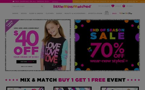 Screenshot of Home Page littlemissmatched.com - Shop Girls' Socks, Clothing & Bedding | LittleMissMatched - captured Jan. 16, 2016