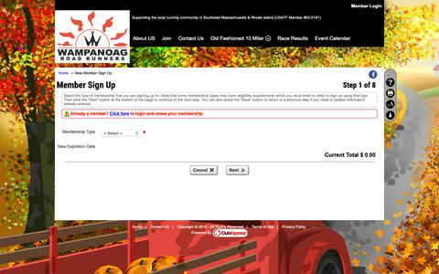Screenshot of Signup Page clubexpress.com - New Member Sign Up - Wampanoag Road Runners - captured Dec. 3, 2018
