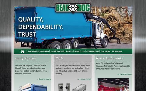 Screenshot of Home Page beauroc.com - Beau-Roc Custom Built Heavy-Duty Dump Bodies - captured Jan. 28, 2016