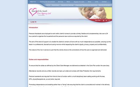Screenshot of Services Page heartofthesouthcareagency.com - Heart of the South Care Agency - Live In - Heart of the South - Care Agency LTD - captured Oct. 1, 2014