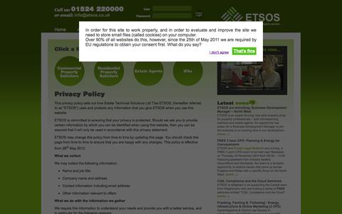 Screenshot of Privacy Page etsos.co.uk - ETSOS The Complete Property Solution - captured Sept. 30, 2014