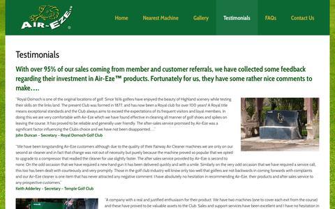 Screenshot of Testimonials Page air-eze.co.uk - Testimonials   Air-Eze - captured Oct. 4, 2014