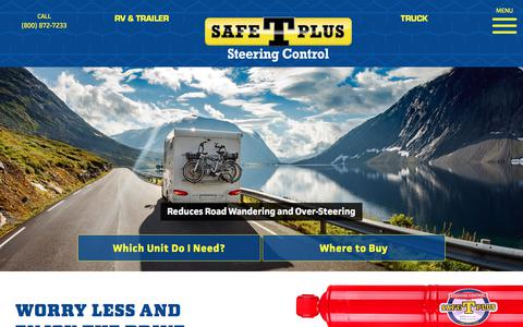 Screenshot of Home Page safe-t-plus.com - Safe T Plus Steering Control / RV & Truck Steering Stabilizer - captured Sept. 22, 2018
