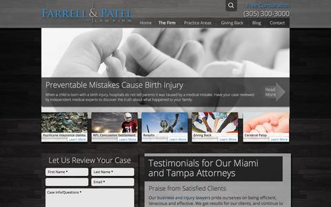 Screenshot of Testimonials Page farrellpatel.com - Testimonials for Our Miami and Tampa Attorneys - captured Oct. 13, 2017