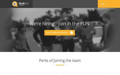 Screenshot of Jobs Page qwikvid.com - Qwikvid Careers - captured July 20, 2016