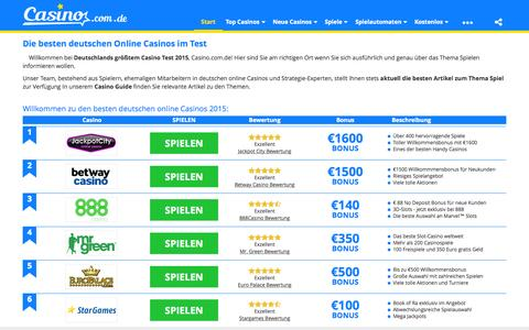 Screenshot of Home Page casino.com.de captured Nov. 1, 2015