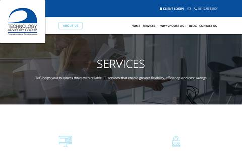 Screenshot of Services Page techadvisory.com - Business IT Services & Solutions - Warwick, Cranston, East Greenwich | Technology Advisory Group - captured Nov. 5, 2017