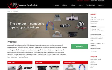 Screenshot of Products Page appinc.co - Products | Advanced Piping Products - captured Nov. 2, 2014