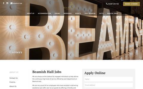 Screenshot of Jobs Page beamish-hall.co.uk - Beamish Hall Jobs - captured Nov. 13, 2018