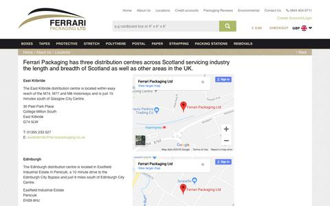 Screenshot of Locations Page ferraripackaging.co.uk - Ferrari Packaging Locations Throughout Scotland - captured Oct. 5, 2018