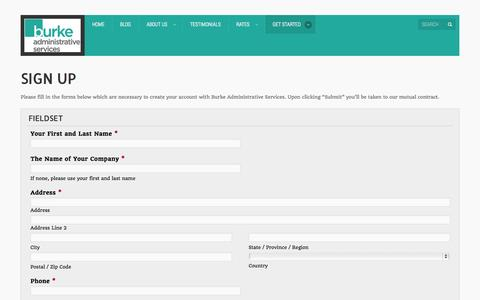 Screenshot of Signup Page burkeadministrative.net - Sign Up | - captured Oct. 5, 2014