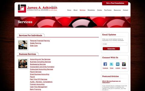 Screenshot of Services Page adkinsoncpa.com - Orlando Accounting Services | Orlando Tax Planning | Orlando Bookkeeping Services - captured Oct. 6, 2014