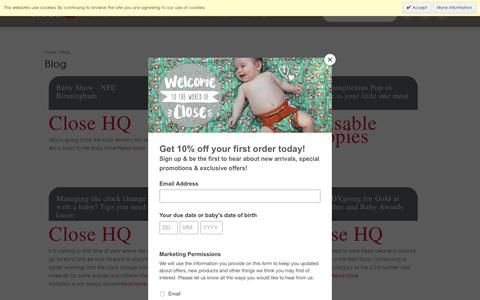 Screenshot of Blog closeparent.com - Blog | Close Parent | Award winning pop-in reusable cloth nappy and caboo baby slings carriers - captured July 19, 2018