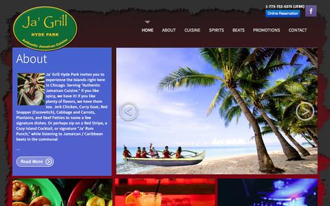 Screenshot of Home Page jagrill.com - Ja' Grill  Hyde Park -  1510 E Harper Ct Chicago, IL 60615 - Ja' Grill | Chicago's Jamaican Cuisine & Drinks - 1008 W. Armitage Ave. Chicago, IL - captured Jan. 21, 2015
