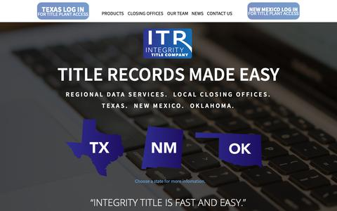 Screenshot of Home Page Contact Page Products Page Press Page Team Page integritytitle.com - Home - captured Dec. 5, 2018