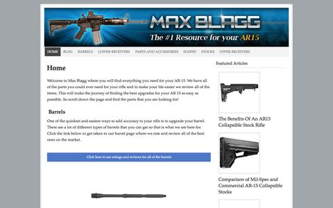 Screenshot of Home Page maxblagg.net - Max Blagg - The #1 Resource for your AR15 - captured Oct. 11, 2015