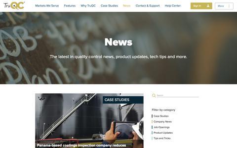 Screenshot of Blog Press Page truqcapp.com - The Quality Control Blog   TruQC - captured Oct. 19, 2018