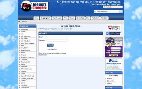 Screenshot of Login Page jeeperz-creeperz.com - Jeeperz Creeperz: Off Road Parts & Accessories for YOUR vehicle! - captured Oct. 27, 2014