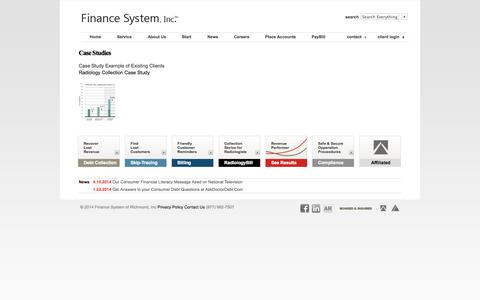 Screenshot of Case Studies Page financesysteminc.com - Finance System, Inc. Collection Agency - About Us - case studies - Case Studies - captured Sept. 30, 2014