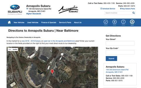 Screenshot of Maps & Directions Page annapolissubaru.com - Directions to Annapolis Subaru | New & Used  Subaru dealership in Annapolis | Serving Edgewater, Millersville, Crofton, & Severna Park. - captured Oct. 3, 2018