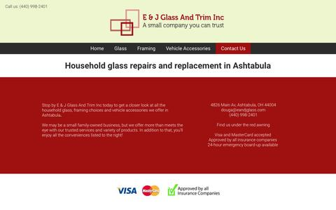 Screenshot of Contact Page eandjglass.com - E & J Glass And Trim Inc | (440) 998-2401 | Ashtabula, OH - captured Feb. 9, 2016