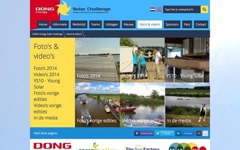 Screenshot of Press Page dongenergysolarchallenge.nl - Foto's & video's | DONG Energy Solar Challenge - captured Sept. 19, 2014