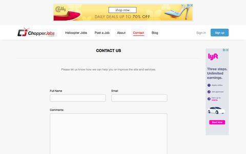Screenshot of Contact Page chopperjobs.com - Contact Us | ChopperJobs.com - captured Nov. 5, 2016