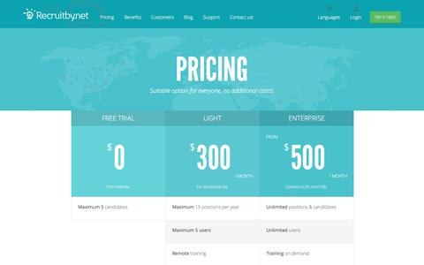 Screenshot of Pricing Page recruitby.net - Pricing - Recruitby.net - captured Nov. 29, 2016