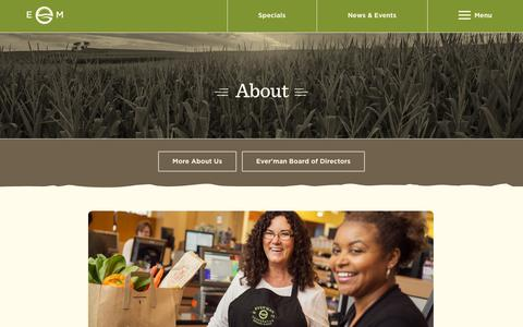 Screenshot of About Page everman.org - About - Ever'man Cooperative Grocery & Cafe - captured Oct. 3, 2014