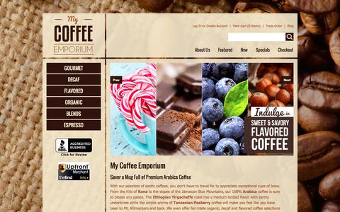 Screenshot of Home Page Terms Page mycoffeeemporium.com - Arabica Coffee | Decaf, Espresso & Flavored Whole Beans & Grinds - captured Oct. 6, 2014