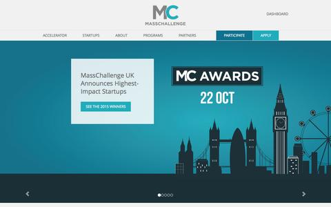 Screenshot of Home Page masschallenge.org - MassChallenge | World�s Largest Startup Accelerator - captured Oct. 27, 2015