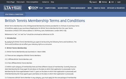 Screenshot of Terms Page lta.org.uk - British Tennis Membership Terms and Conditions | Tennis in Britain - captured Sept. 20, 2016