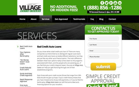 Screenshot of Services Page villageautoloans.com - What We Offer... - captured Oct. 7, 2014