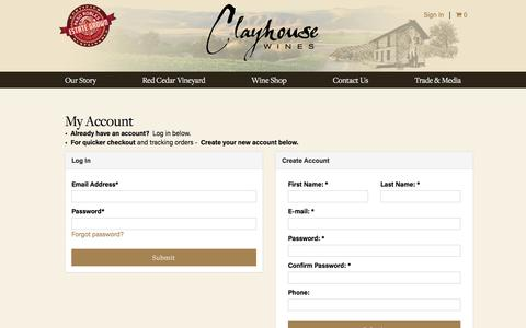 Screenshot of Login Page clayhousewines.com - Register or Login | Clayhouse Wines - captured May 18, 2017