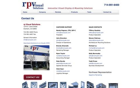 Screenshot of Contact Page rpvisuals.com - rp Visual Solutions - Contact Us - captured Feb. 17, 2016