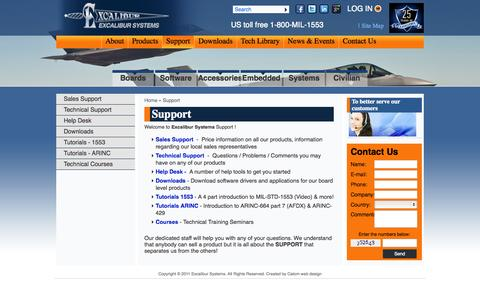 Screenshot of Support Page mil-1553.com - Support | Excalibur - captured Oct. 3, 2014