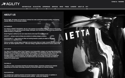 Screenshot of About Page agilitymotors.com - Agility Saietta | Electric Motorcycles made in London - captured Oct. 4, 2014