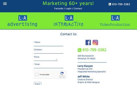 Screenshot of Contact Page l-aadvertising.com - L•A Advertising, L•A Interactive & L•A Video Production | Lehigh Valley, Pennsylvania | Contact - captured Dec. 19, 2017