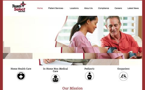 Screenshot of Home Page teamselecthh.com - Team Select Home Care – World Class In Home Healthcare Team Select Home Care - World Class Home Healthcare - captured Feb. 14, 2016