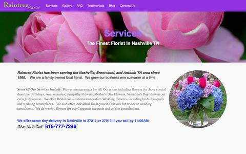 Screenshot of Services Page raintreeflorist.com - Raintree Florist Nashville TN - Services - captured June 18, 2016