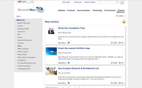 Screenshot of Press Page brand-rex.com - | Brand-Rex Ltd. - captured Oct. 29, 2014