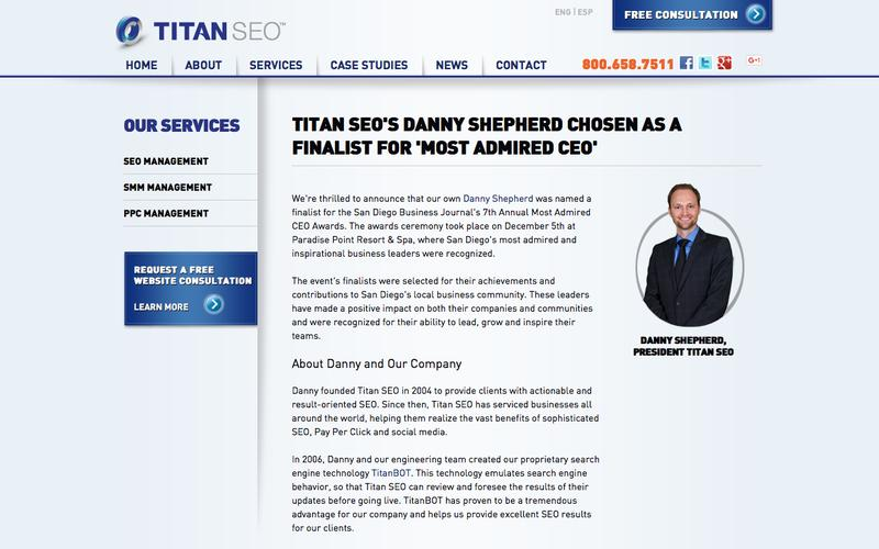Titan SEO's Danny Shepherd Named a Finalist for 'Most Admired CEO'