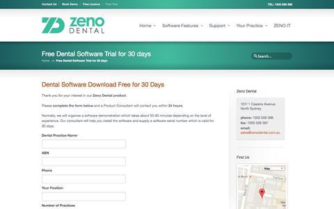 Screenshot of Trial Page zenodental.com.au - Dental Software Australia Free Download - captured Oct. 7, 2014