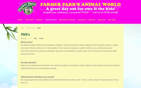 Screenshot of FAQ Page farmerparrs.com - Farmer Parrs Animal World, Fleetwood, Frequently Asked Questions - captured May 24, 2016